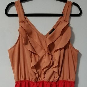 Cute Mossimo coral red ruffle dress, XL fits L